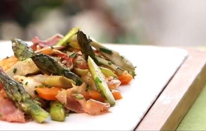 Recette po l e d artichauts crevettes et asperges vertes - Recette asperge verte poelee ...